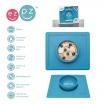 Fotografia, na której jest EZPZ Silikonowa miseczka z podkładką 2w1 Happy Bowl niebieska