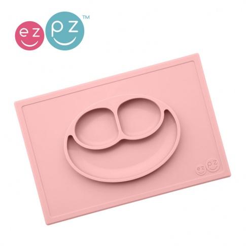 Fotografia, na której jest EZPZ Silikonowy talerzyk z podkładką 2w1 Happy Mat pastelowy róż