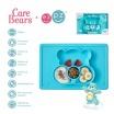 Fotografia, na której jest EZPZ Silikonowy talerzyk z podkładką 2w1 Care Bears™ Mat Misia Życzliwe Serce Wish Bear turkusowy
