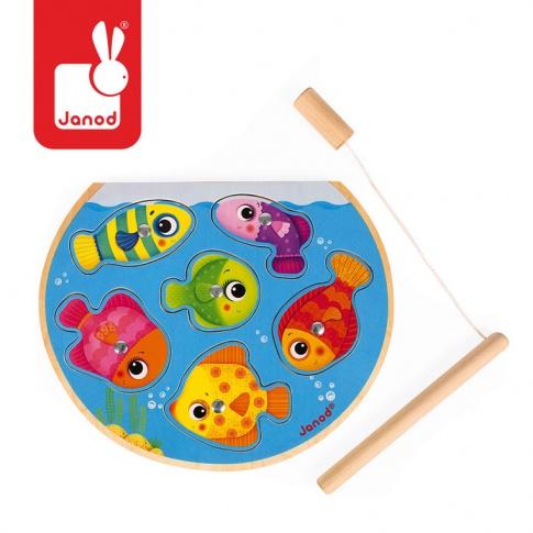 Fotografia, na której jest Puzzle z magnesami Szybkie rybki z wędką, Janod