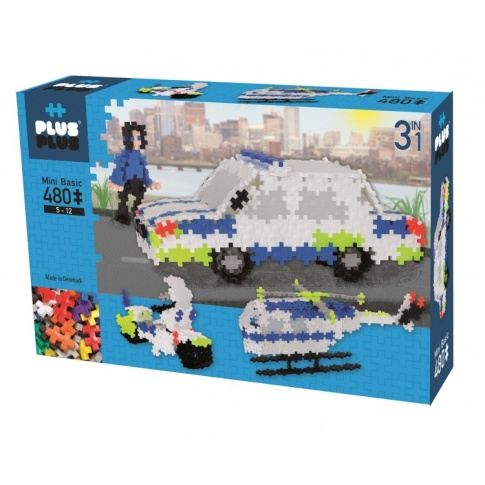Fotografia, na której jest Klocki Plus-Plus, Mini Basic - 480 szt. 3w1 Pojazdy policyjne