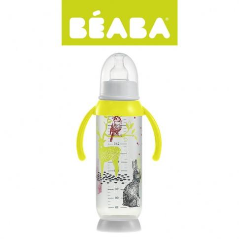 Fotografia, na której jest Beaba Butelka antykolkowa z uchwytem 330ml Bunny  yellow