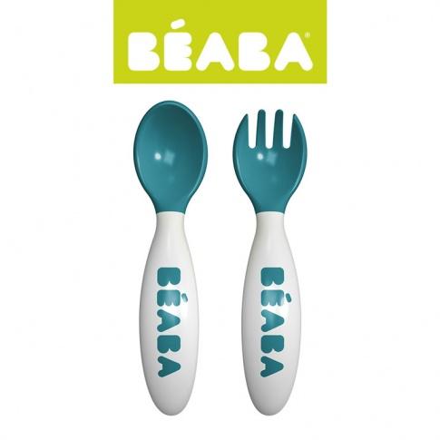 Fotografia, na której jest Beaba Sztućce plastikowe w etui blue