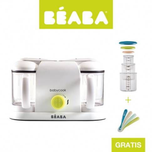 Fotografia, na której jest Beaba Zestaw Babycook® Plus neon z 4 łyżeczkami i kompletem słoiczków