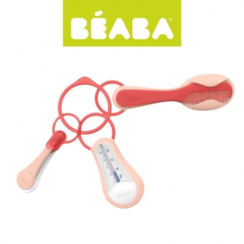 Fotografia, na której jest Beaba Akcesoria do pielęgnacji: termometr do kąpieli, obcinaczka, szczoteczka i grzebień nude/coral