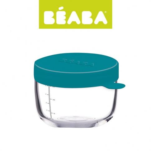 Fotografia, na której jest Beaba Pojemnik słoiczek szklany z hermetycznym zamknięciem 150 ml blue