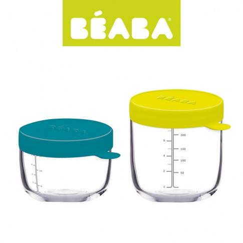 Fotografia, na której jest Beaba Zestaw pojemników słoiczków szklanych z hermetycznym zamknięciem 150 + 250 ml blue i neon