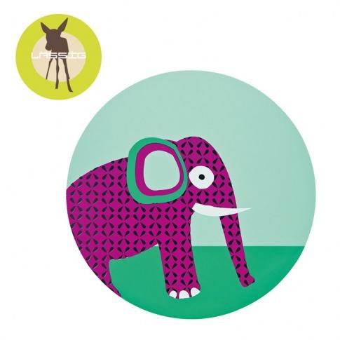 Fotografia, na której jest LASSIG Podkładka silikonowa do posiłku Wildlife Słoń
