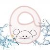 Fotografia, na której jest LASSIG Śliniak bawełniany wodoodporny 0m+ Little Chums Mysz