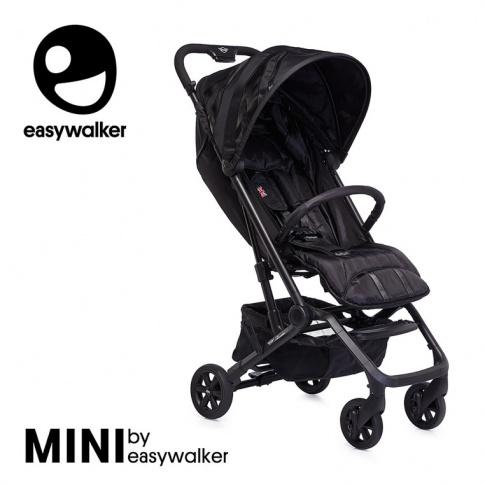Fotografia, na której jest MINI by EASYWALKER Buggy XS Wózek spacerowy z osłonką przeciwdeszczową LXRY Black