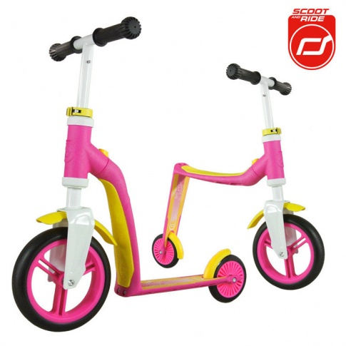 Fotografia, na której jest Highwaybaby 2w1 hulajnoga i rowerek 1+ Pink, SCOOTANDRIDE