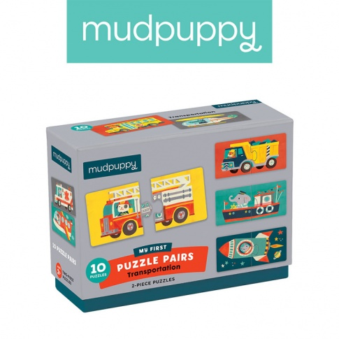 Fotografia, na której jest Mudpuppy Dwuczęściowe puzzle Środki transportu 10 par 2+