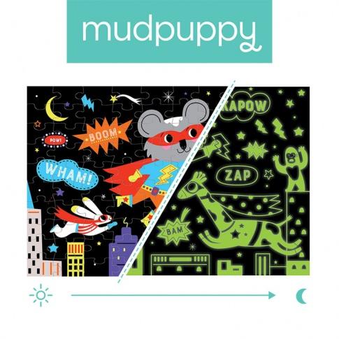Fotografia, na której jest Mudpuppy Puzzle świecące w ciemności Superbohaterowie 100 elementów 5+