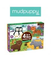 Mudpuppy Puzzle 4 w 1 Zwierzęta świata 4, 6, 9 i 12 elementów 2+