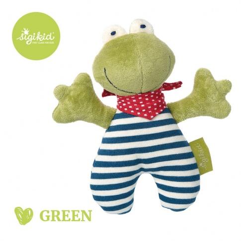 Fotografia, na której jest SIGIKID Przytulanka grzechotka Żabka kolekcja ekologiczna Green