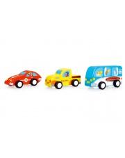 3 Drewniane Samochody Pull - Scratch