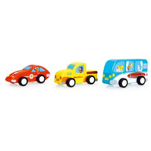 Fotografia, na której jest 3 Drewniane Samochody Pull - Scratch