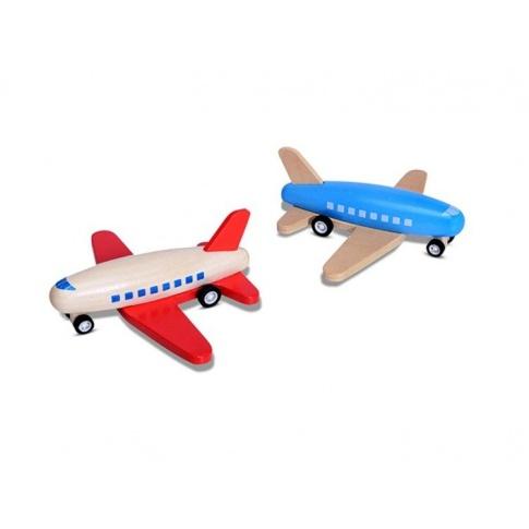 Fotografia, na której jest Duży drewniany NIEBIESKI samolot - Buiten Speel