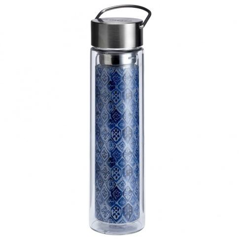 Fotografia, na której jest Butelka szklana na herbatę z pokrowcem - 350 ml - Szelest Indigo Eigenart