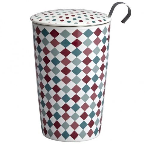 Fotografia, na której jest Kubek do herbaty z zaparzaczką - 350 ml - Słodkie romby Eigenart