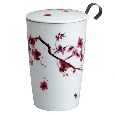Fotografia, na której jest Kubek do herbaty z zaparzaczką - 350 ml - Kwiat Wiśni Eigenart