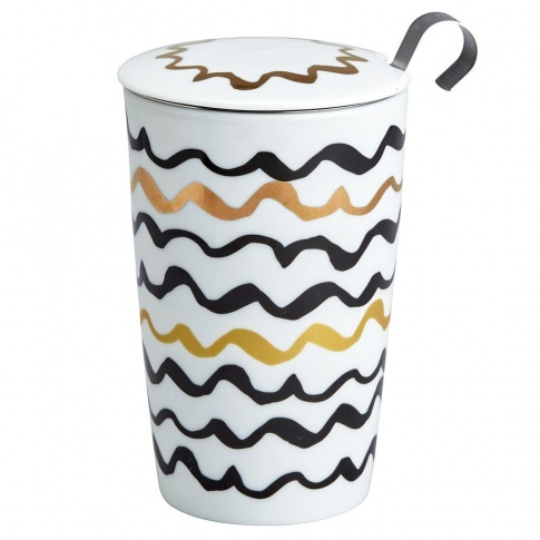 Fotografia, na której jest Kubek do herbaty z zaparzaczką - 350 ml - Złoto szlaczki Eigenart