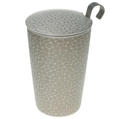 Fotografia, na której jest Kubek do herbaty z zaparzaczką - 350 ml - Ziarna biało-złoty Eigenart