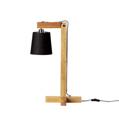 Fotografia, na której jest Lampa drewniana z czarnym kloszem - Bloomingville