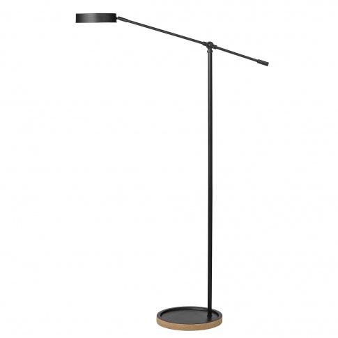 Fotografia, na której jest Lampa stojąca czarna z drewnianą podstawą - Bloomingville