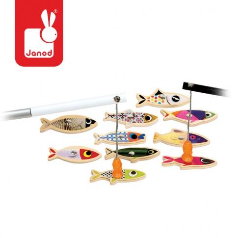 Fotografia, na której jest Zestaw do łowienia magnetyczny drewniany 10 rybek Sardynka, JANOD