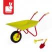 Fotografia, na której jest Mały ogrodnik Zielona taczka z grabkami i łopatką, Janod