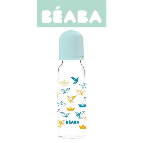 Fotografia, na której jest Beaba Butelka szklana 250 ml Origami blue