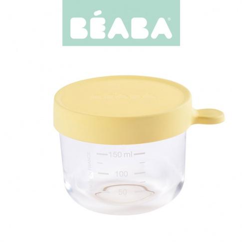 Fotografia, na której jest Beaba Pojemnik słoiczek szklany z hermetycznym zamknięciem 150 ml yellow