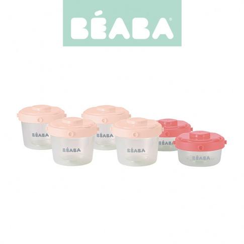 Fotografia, na której jest Beaba Zestaw słoiczków Clip 6 szt. 60 ml i 120 ml pink