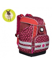 Lassig Plecak szkolny XL ze sztywnymi plecami, i wodoodpornym dnem Dottie red