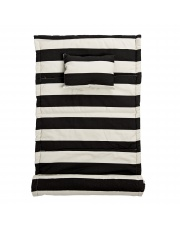 Mata plażowa z poduszką - czarne paski - Bloomingville
