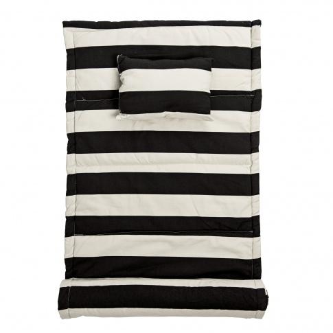 Fotografia, na której jest Mata plażowa z poduszką - czarne paski - Bloomingville