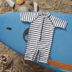 Fotografia, na której jest Lassig Kombinezon do pływania z krótkim rękawem Striped boys UV 50+