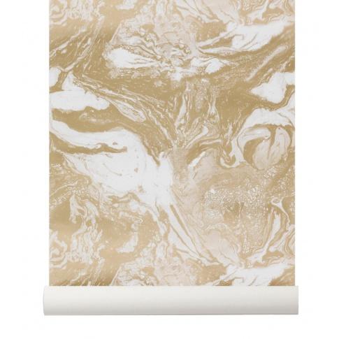 Fotografia, na której jest Tapeta skandynawska MARBLING Gold - ferm LIVING