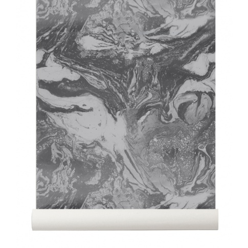 Fotografia, na której jest Tapeta skandynawska MARBLING Charcoal - ferm LIVING