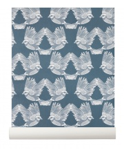 Tapeta skandynawska BIRDS Dark Green/Off White - ferm LIVING