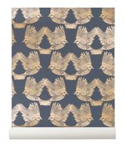 Tapeta skandynawska BIRDS Deep Blue/Gold - ferm LIVING