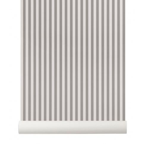 Fotografia, na której jest Tapeta skandynawska THIN LINES Grey/Off White - ferm LIVING