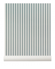 Tapeta skandynawska THIN LINES Dusty Blue/Off White - ferm LIVING