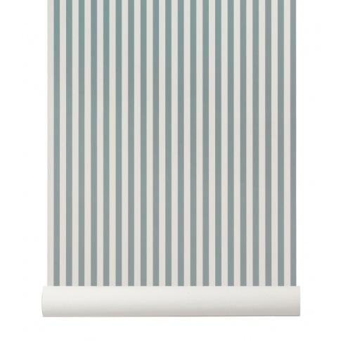 Fotografia, na której jest Tapeta skandynawska THIN LINES Dusty Blue/Off White - ferm LIVING