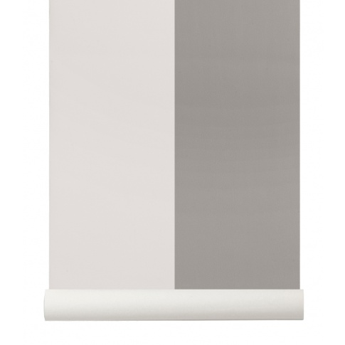Fotografia, na której jest Tapeta skandynawska THICK LINES Grey/Off White - ferm LIVING