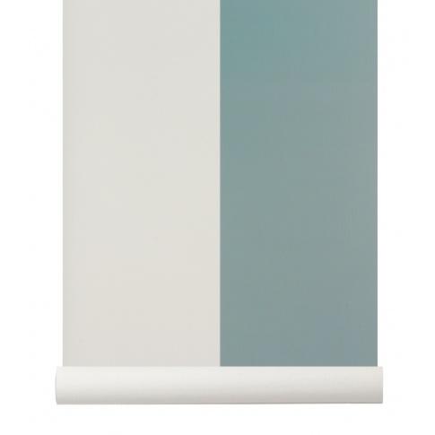 Fotografia, na której jest Tapeta skandynawska THICK LINES Dusty Blue/Off White - ferm LIVING