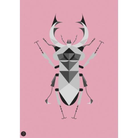 Fotografia, na której jest Plakat Jelonek Rogacz różowy - Kinkallo
