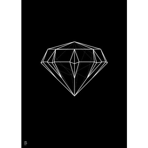 Fotografia, na której jest Plakat Diament linearny czarny - Kinkallo