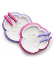 BABYBJORN - talerzyki ze sztućcami - fiolet/róż